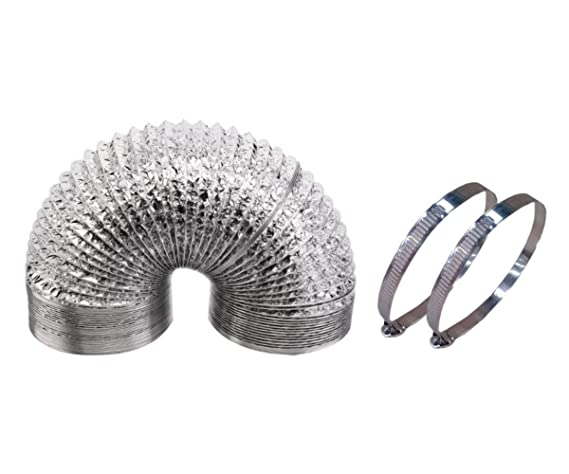 Hongville 25 Ft Aluminum Air Ducting for Ventilation with 2Pcs Worm Gear Clamps