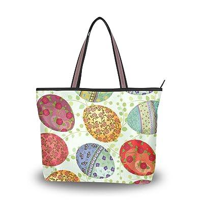 5cfb24393 Image Unavailable. Image not available for. Color: Zip Tote Bag Easter Eggs Women's  Handbags Shoulder Bags Satchel Purse