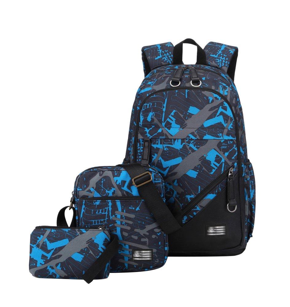 YoungSoul Sets de sacs scolaires unisexe - Cartable sac à dos en toile + Sac à bandoulière + Trousses Bleu Blanc(Set)