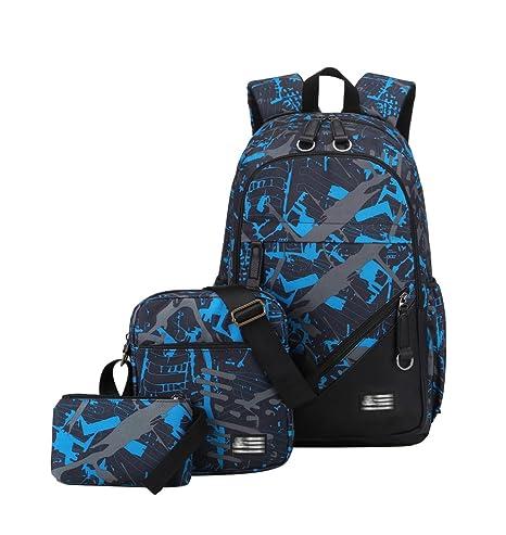 8c30dc273cd23 YoungSoul Schultasche Sets Jungs Mädchen - Canvas Schulrucksack +  Schultertasche + Mäppchen - Schule Rucksack für