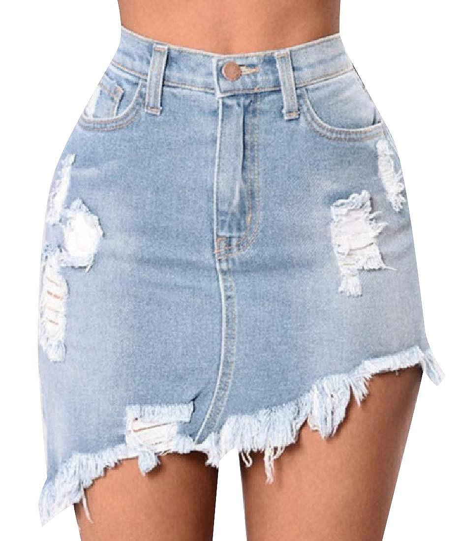 RDHOPE-Women Button Closure Ripped Hole Summer Cool Denim Skirt