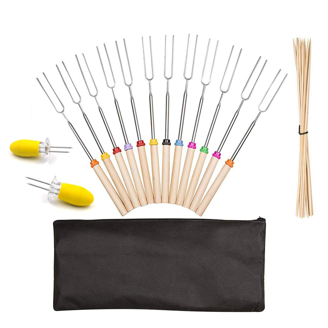 Marshmallow Roasting Sticks, Fincly Extendable 30inch Stainless Steel Roasting Sticks Set of 12 Telescoping Barbecue & 10 Bamboo Skewers Smores Hot Dog Forks For BBQ Campfire Pit With Carry Bag by Fincly