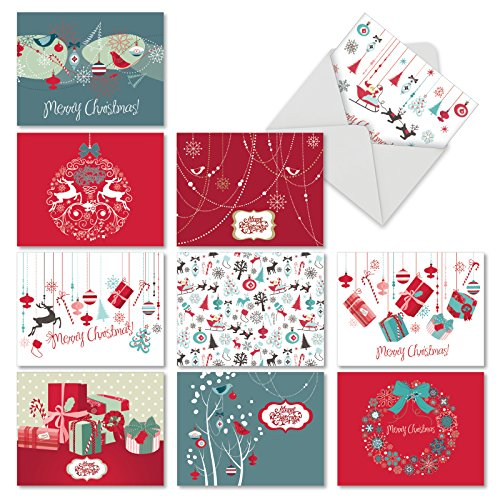 M6663XSG Red And Blue Retro Christmas : 10 Assorted Christmas Note Cards Featuring Charming Christmas and Holiday Designs in Red and Blue, w/White Envelopes.