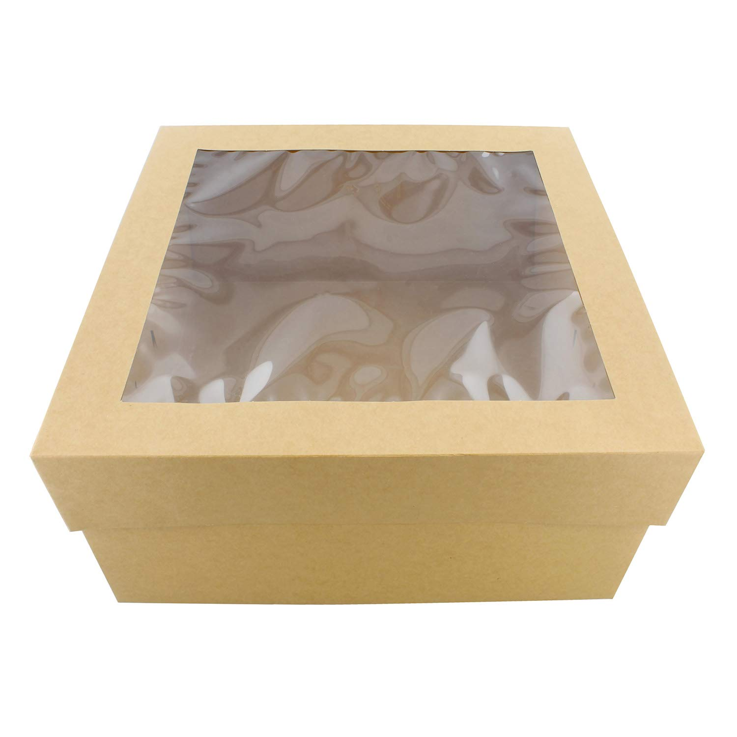 SpecialT | Cake Boxes with Window 25pk 12'' x 12'' x 6'' Inch Brown Bakery Boxes, Disposable Cake Containers, Dessert Boxes