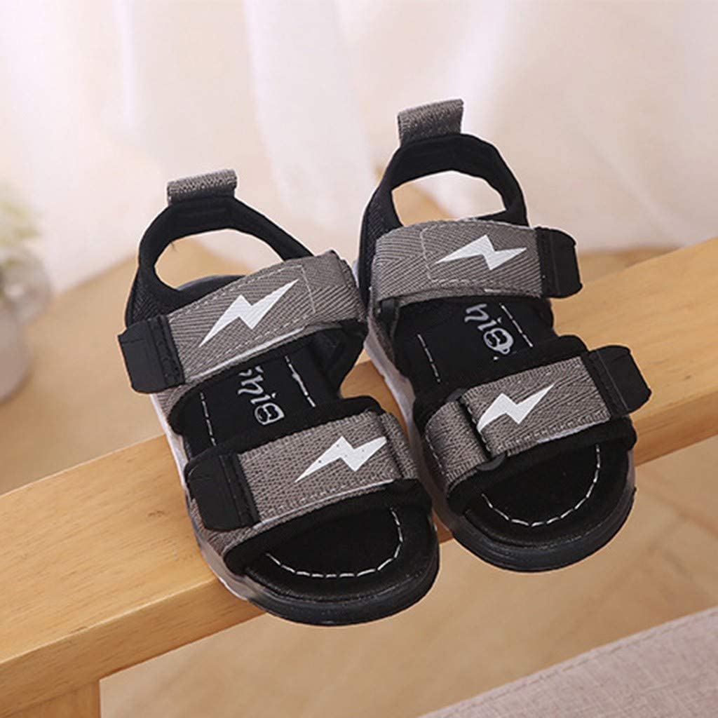 ❤️Rolayllove❤️ Toddler Sandals for Boys Girls Little Kid Baby Flashing Sneakers Open Toe Led Leather Fisherman Shoes