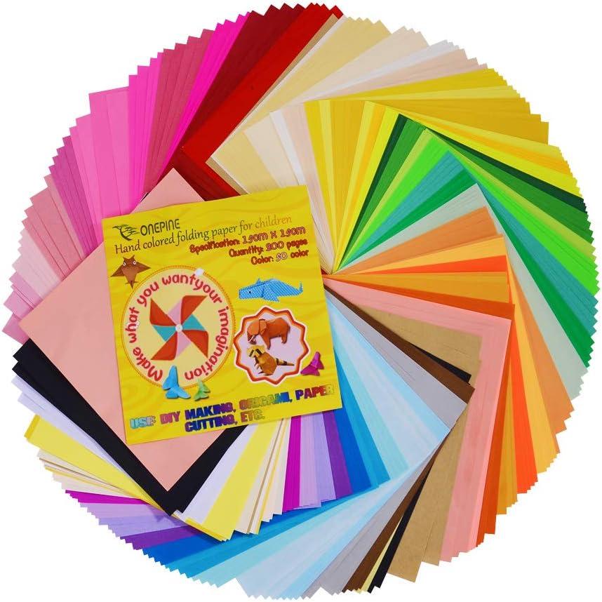 Papel para Origami, 200 hojas cuadradas de 15cm, 50 colores