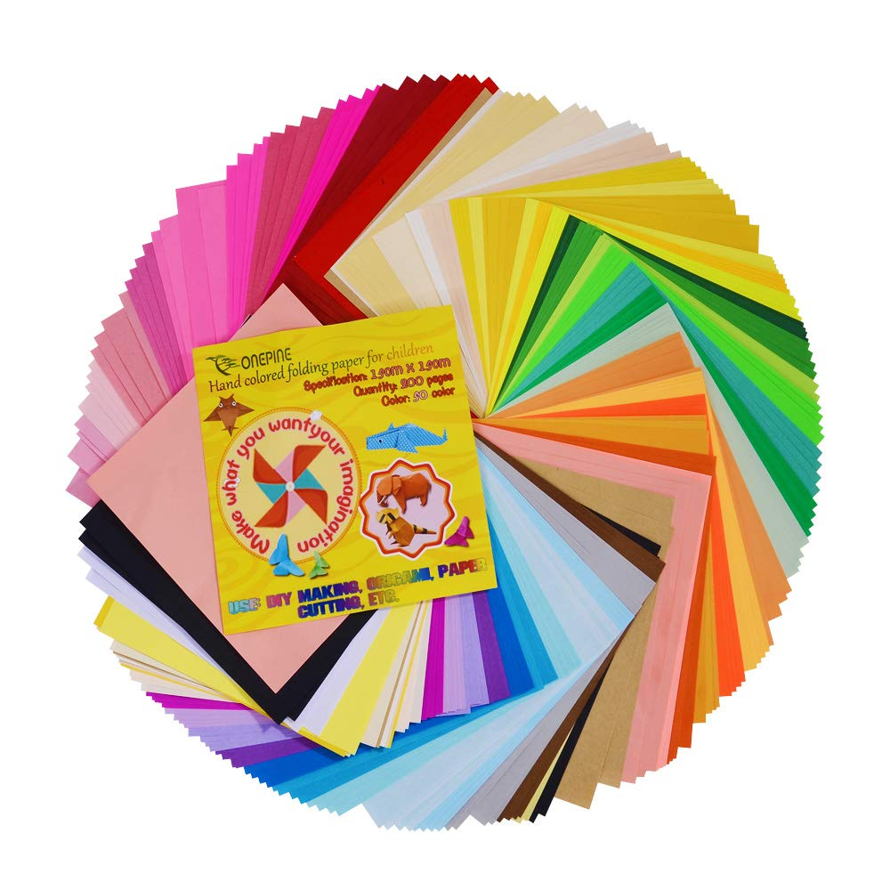 Onepine 50 Vivid Colors 200 Sheets Origami Paper 6 by 6 Inch for DIY Arts and Crafts Projects, Square Colour Fold Paper