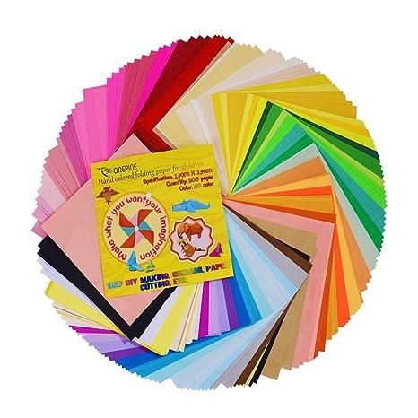 Onepine 50 Colores 200 Hojas Papel Origami 15 x 15 cm Folded Square Origami Para Manualidades DIY Proyectos de Artes y Manualidades, Cuadrado Color ...