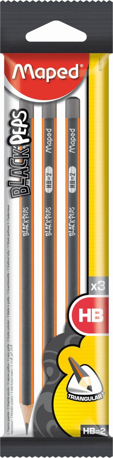 Maped Black/'Peps HB Graphite Pencils Pack of 6