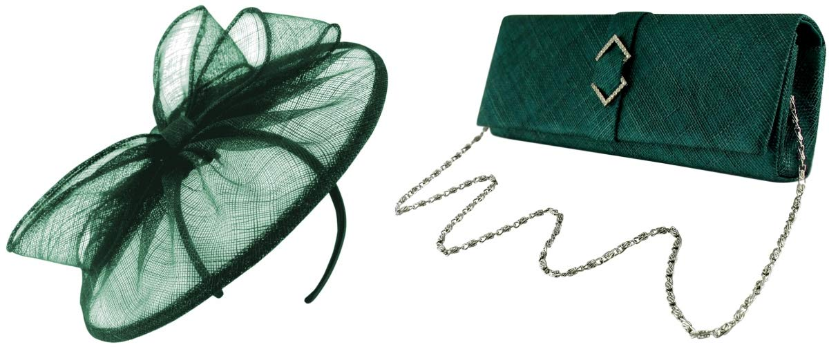 Failsworth Millinery Sinamay Disc Bundle with Matching Sinamay Occasion Bag (2 Items) in Teal, Size: One Size