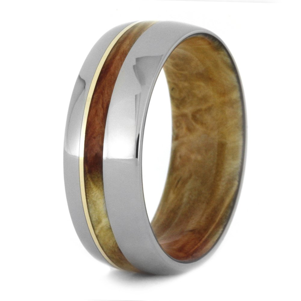 Flame Box Elder Burl, 14k Yellow Gold 8mm Comfort-Fit Titanium Wedding Band, Size 4.75 by The Men's Jewelry Store (Unisex Jewelry) (Image #4)