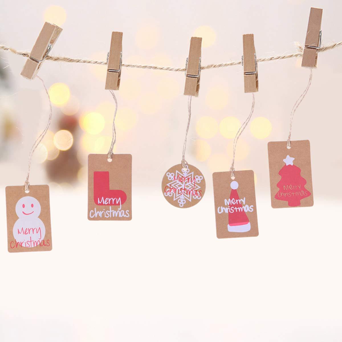 SUPVOX 100pcs Tag di Carta di Natale Tag Favore Tag Regalo Tabella Nome Tag segnaposto in Bianco Natale Hang Tag Tag di Carta Kraft con Iuta Colorata