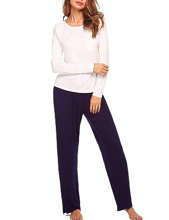36874668d0 Pyjama Damen Zweiteiliger Schlafanzug mit Taschen Tops Lässige Weiss  Hausanzug Sleepwear Nachtwäsche Set