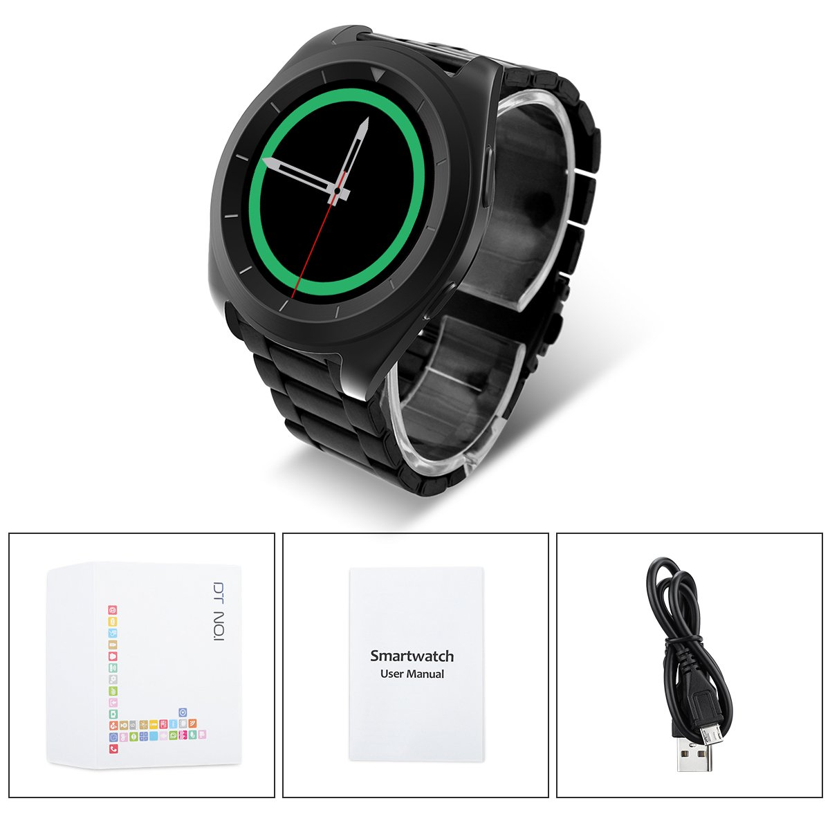NO.1 G6 - Bluetooth Smart Watch Heart Rate Smartwatch ( Heart Rate Monitor, Pedometer, Sleep Monitor, Notifications, Sedentary Reminder, Search Device & Anti-lost for ios Android )