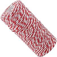 Lifreer 1 rol kerst touw touw, katoenen touw, tuin touw, geschenk twines verpakken DIY kunst ambachten (rood en wit)