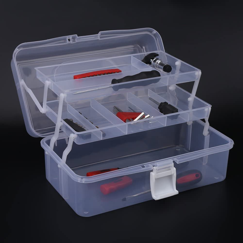 Bleu Bo/îte de rangement pour premiers secours avec bo/îte amovible Plastique polyvalent 3 plateaux Bo/îte de rangement pour fournitures dartisanat dart Bo/îte /à outils pour organisateur