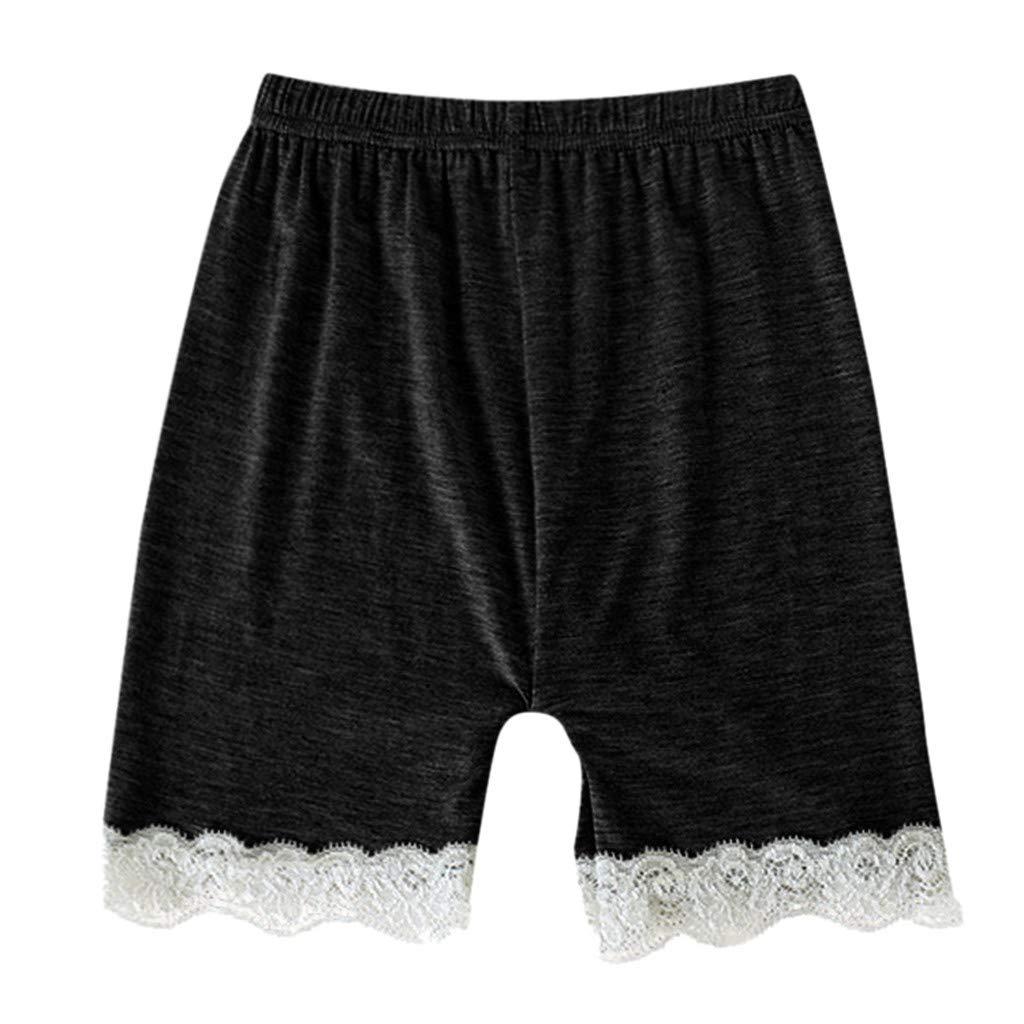 iZHH Fashion Toddler Children Kid Baby Girls Solid Lace Safety Pants Shorts Underwear Clothes Black