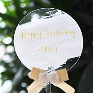 UNIQOOO 20 Pack Blank Acrylic Cake Toppers, Round Clear DIY Birthday Cake Topper, for Wedding, Birthday Party Christening, Anniversary Cake Decorations
