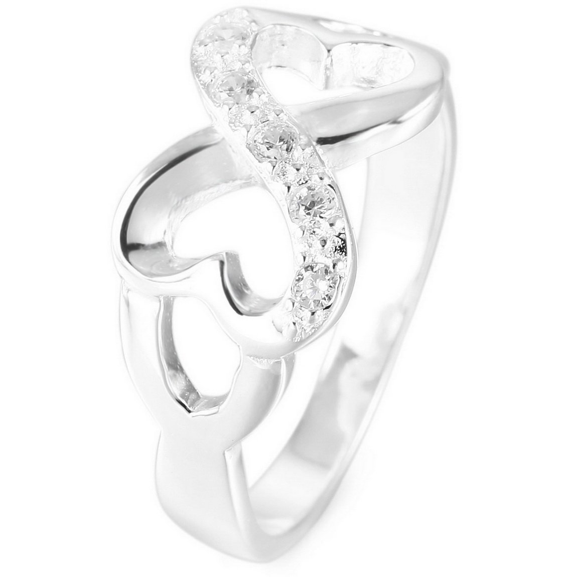 INBLUE Women's 925 Sterling Silver Ring CZ Heart Infinity Symbol Wedding Band INBLUE Jewelry mnf0012-parent