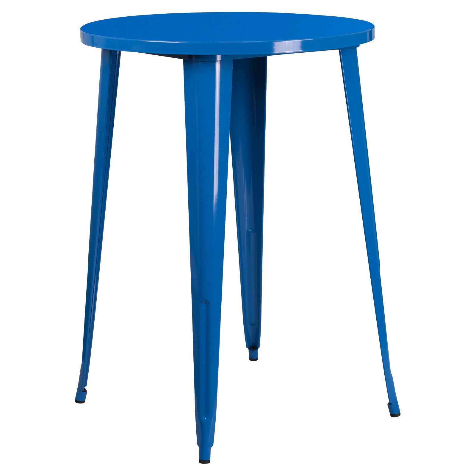 Basic 30'' Round Metal Indoor-Outdoor Bar Height Table with Protective Rubber Feet to Prevent Damage to Floors, Great for All Weather and Outdoor/Indoor Use, Blue + Expert Home Guide by Love US
