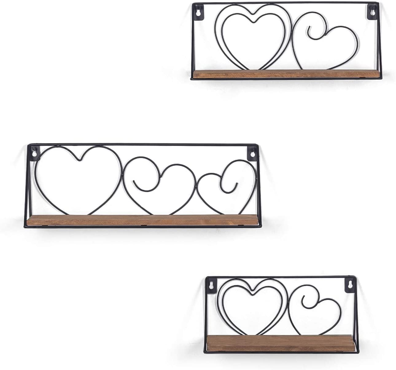 Decent Home Rustic Wall Mounted Floating Shelves Set of 3 Wrought Iron Hanging Shelf for Living Room, Bedroom, Bathroom Farmhouse Decor (Brown)