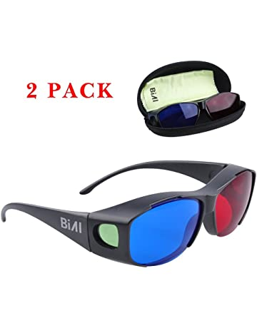dda9c8523748 BIAL Red-Blue 3D Glasses with Case Glassese Cloth 2 Pack Cyan Anaglyph  Simple Style