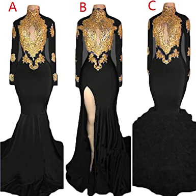 1125beb5dc3c Womens High Neck Gold Applique Mermaid Prom Dresses Long Sleeve Lace ...