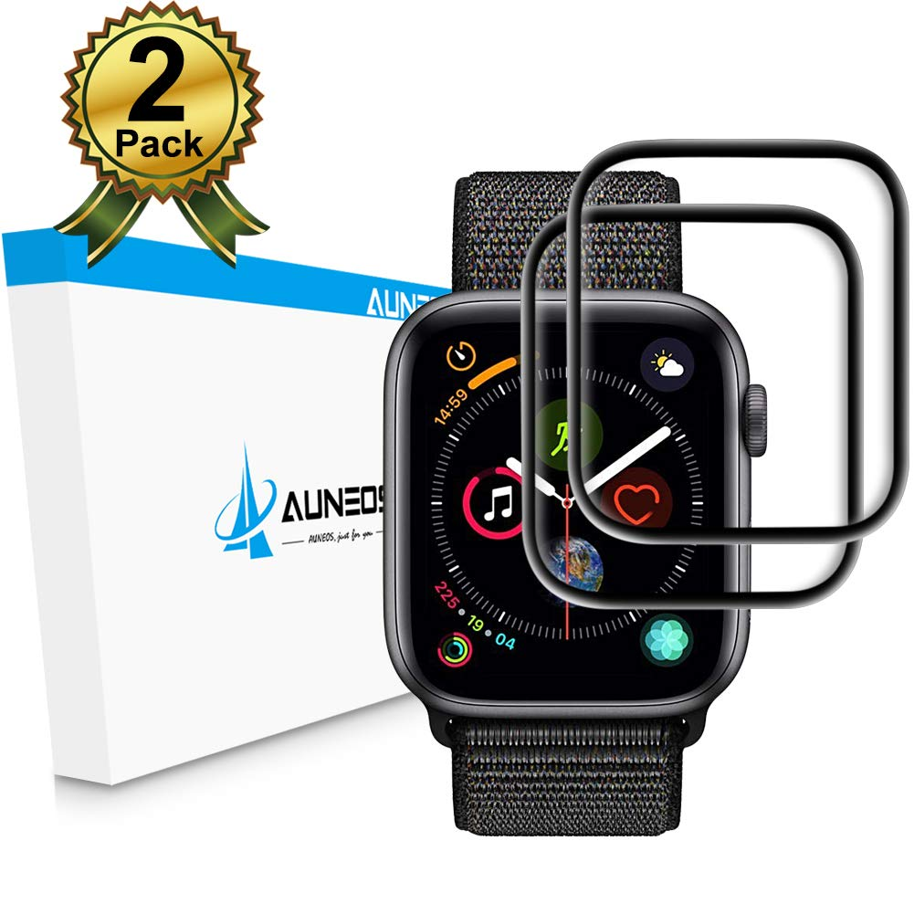 [6D Full Adhesive] Apple Watch Screen Protector Series 4 44MM [Align Tool] AUNEOS Tempered Glass Screen Protector for Apple Watch 4 [Edge Curved] [Case Friendly] [2 Pack] (44mm, Black) by AUNEOS