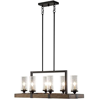 Nessagro Vineyard Rustic Style 6-Light Glass Fixture Metal and Wood Ceiling Chandelier .#GH45843 3468-T34562FD589272