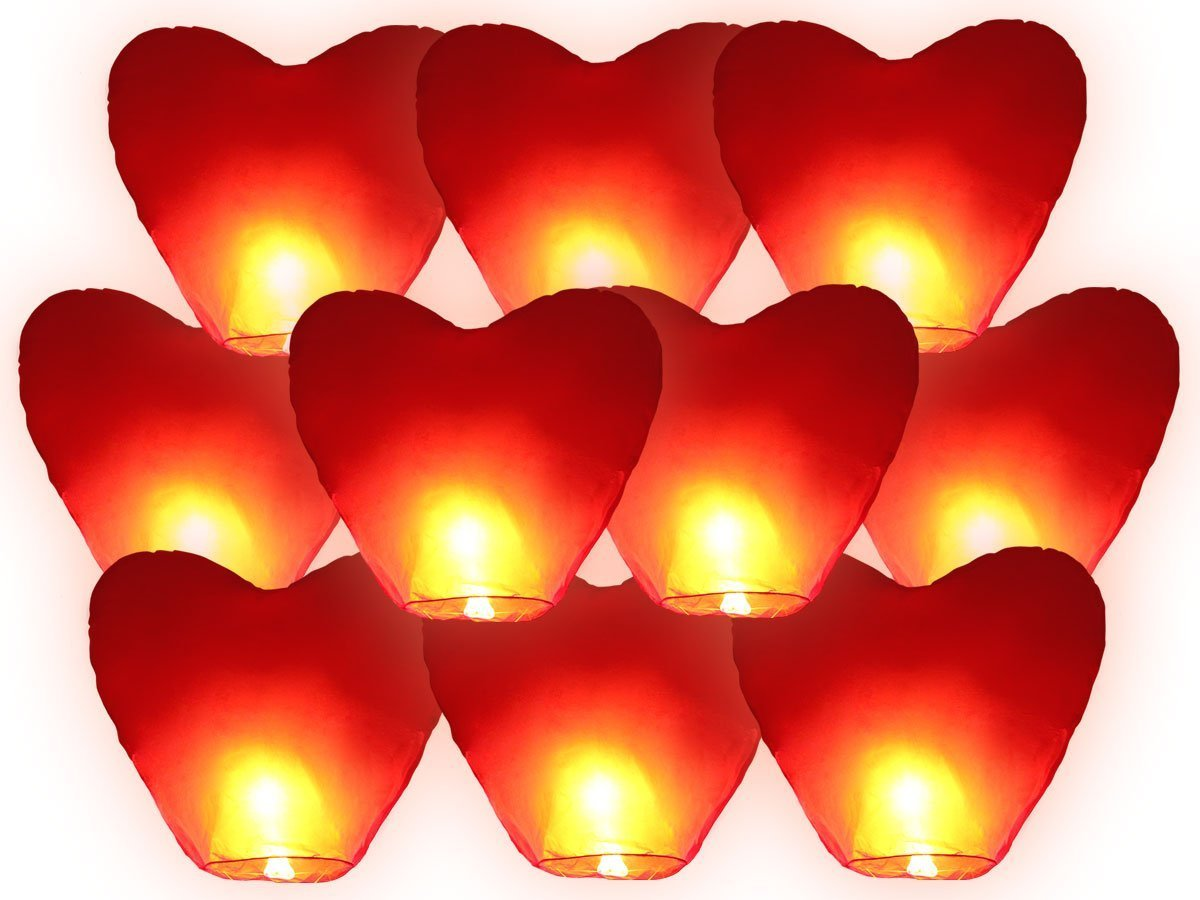 JRing Red Heart Shape Sky Lanterns, Traditional Chinese Flying Glowing Lanterns, Chinese Paper Sky Flying Wishing Outdoors Red Heart Shape Lantern for Birthday Wedding New Year And All Celebrations