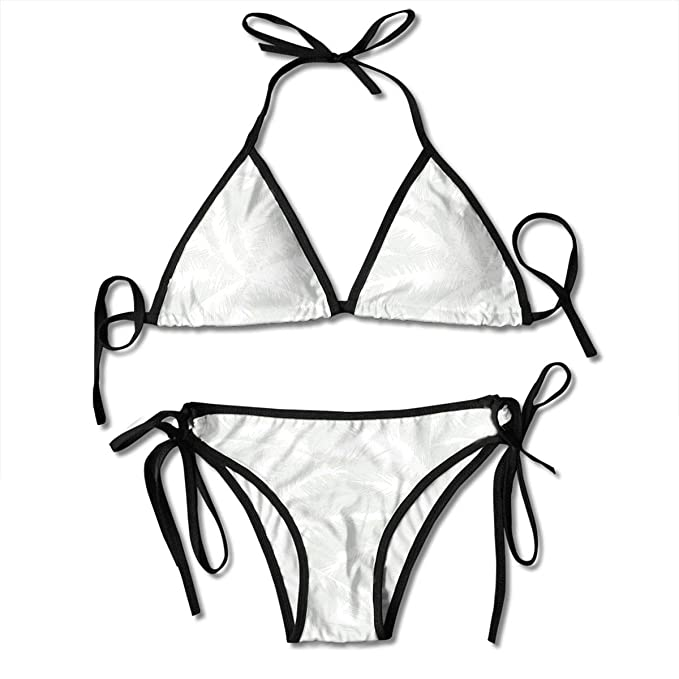 99c772e5aaa07e Image Unavailable. Image not available for. Color: Women's Swimsuit Two  Pieces Bikini Set, Sketchy Palm Leaves Jungle ...