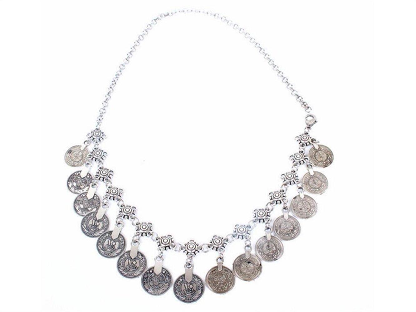 HGJNGHBNG Well 1PC Retro Coin Tassel Headdress bohemian ancient coin head chain(Sliver)