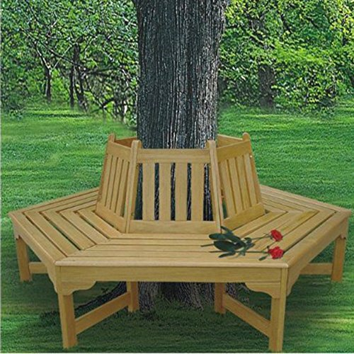 Tree Bench Seat, Wood Outdoor Furniture, Hexagonal Wrap Around, Hardwood Construction Natural Finish, for Backyard Resting Under Your Favorite Tree