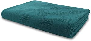 New Jmr White Hospital/Home Thermal Blanket Snagfree 100% Cotton Coach Throw or Quilt Twin Size 66x90(Teal, 66x90)