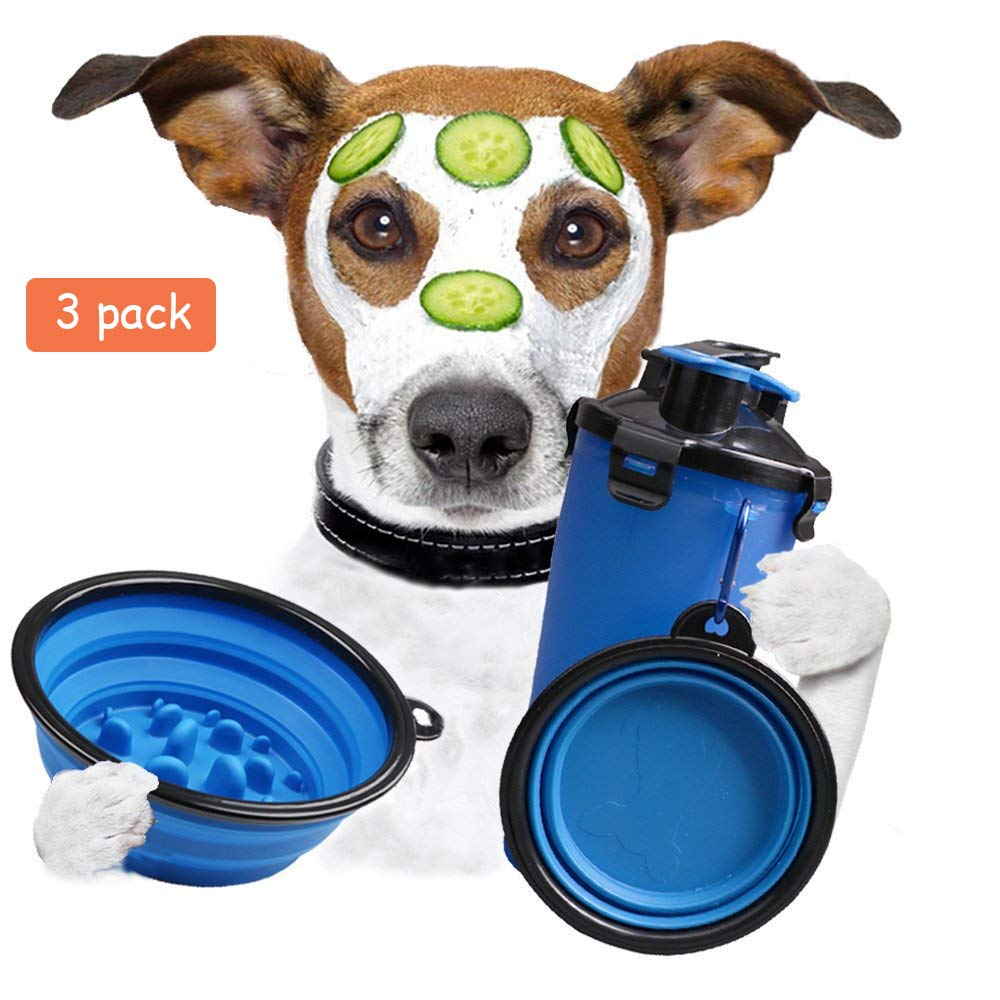 bluee Collapsible Dog Bowl Cat Dog Water Bottle for Walking Food Containers with 2 Pcs Water Bowls Large Dog Bowl Travel Water Dispenser 2 in 1 Portable Pet Drinking Cup with Slow Feeder Bowl