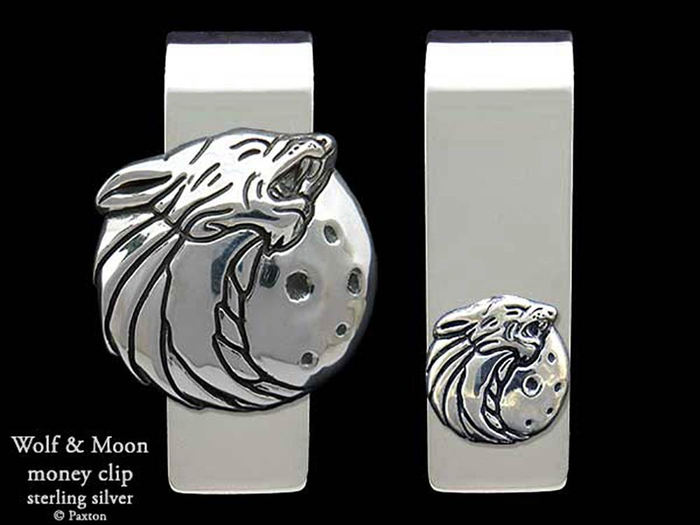 Wolf Head Money Clip in Solid Sterling Silver Hand Carved, Cast & Fabricated by Paxton