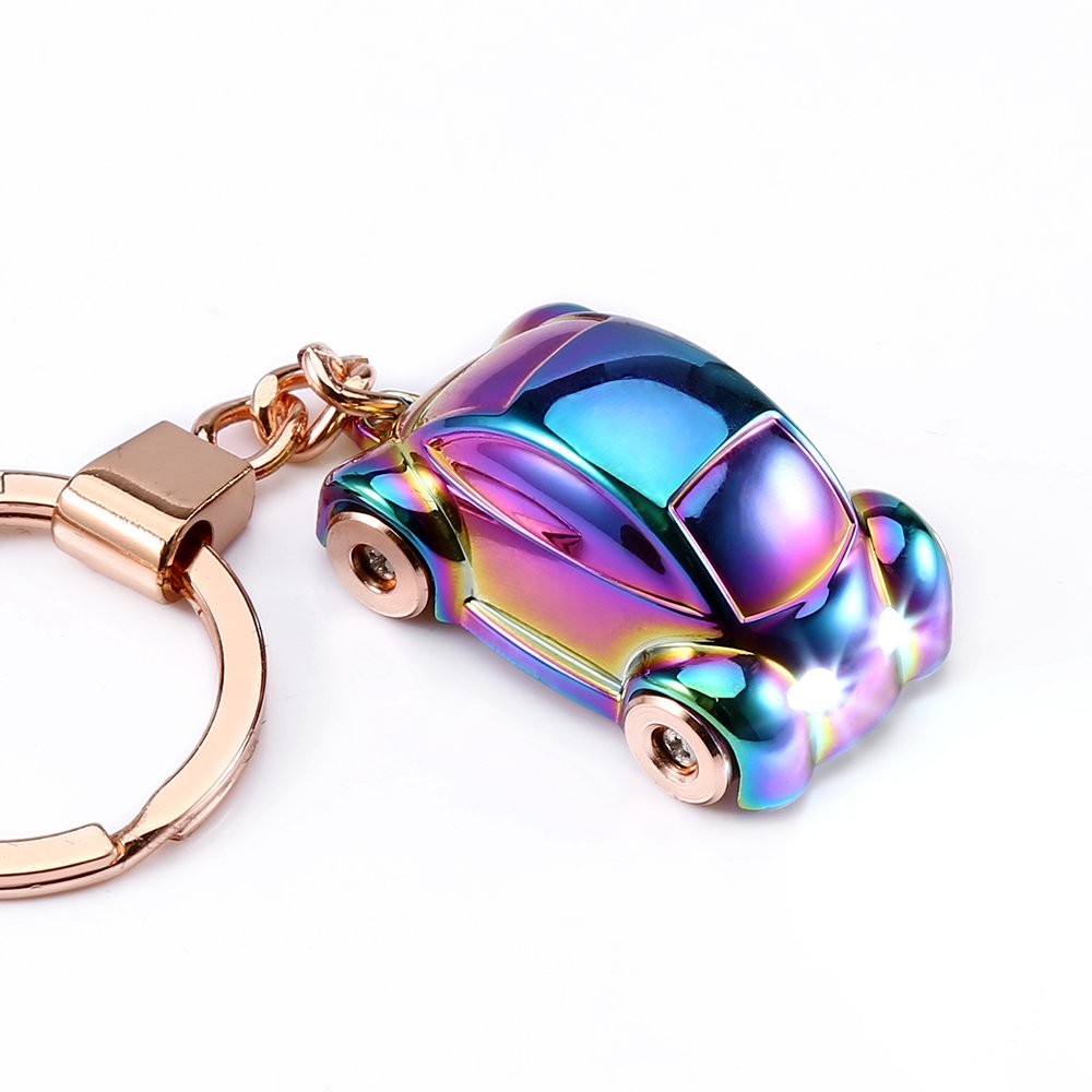 Jobon Zinc Alloy Car Key Chain with LED Light Keychain Flashlight Car Decorations Key Rings for Men Perfect Christmas Gifts Color Women