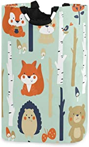 AGONA Forest Cartoon Cute Animal Fox Rabbit Laundry Basket with Handles Large Storage Bin Collapsible Fabric Laundry Hamper Foldable Laundry Bag for Kids Room Toy Bins Gift Basket Bedroom Baby Nursery