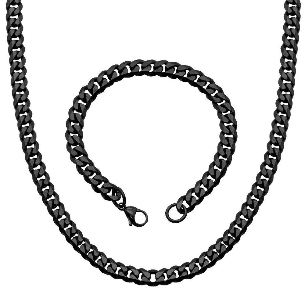 1 Collar Cadena + 1 Pulsera de Acero Inoxidable Sólido Negro Plata Oro 50 55 60 cm Para Hombre Mujer Enlace Brazalete couleur:golden - 50cm tumundo