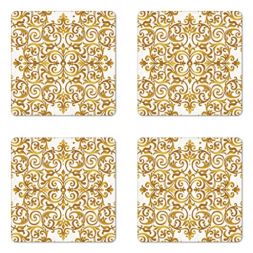 Lunarable Victorian Coaster Set of Four, Victorian Lace Antique Baroque Pattern Oriental Ottoman Royal Square Pattern, Square Hardboard Gloss Coasters for Drinks, White Gold