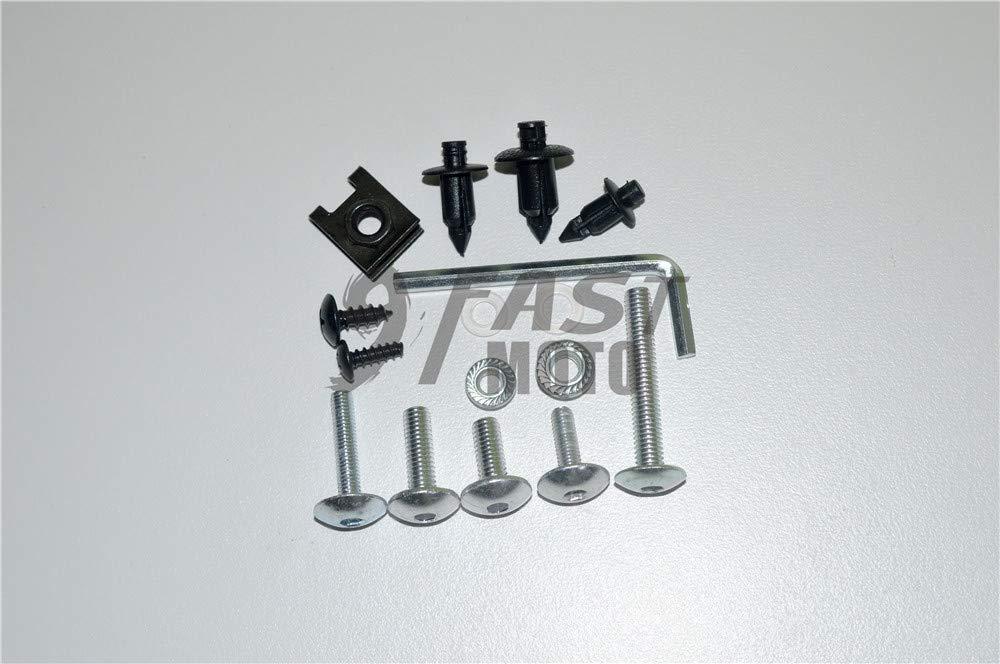 9FastMoto Full Motorcycle Fairings Bolt Screw Kits for Kawasaki EX250R 2008 2009 2010 2011 2012 Ninja 250 Aluminium Screws Fastener Clips Black /& Silver