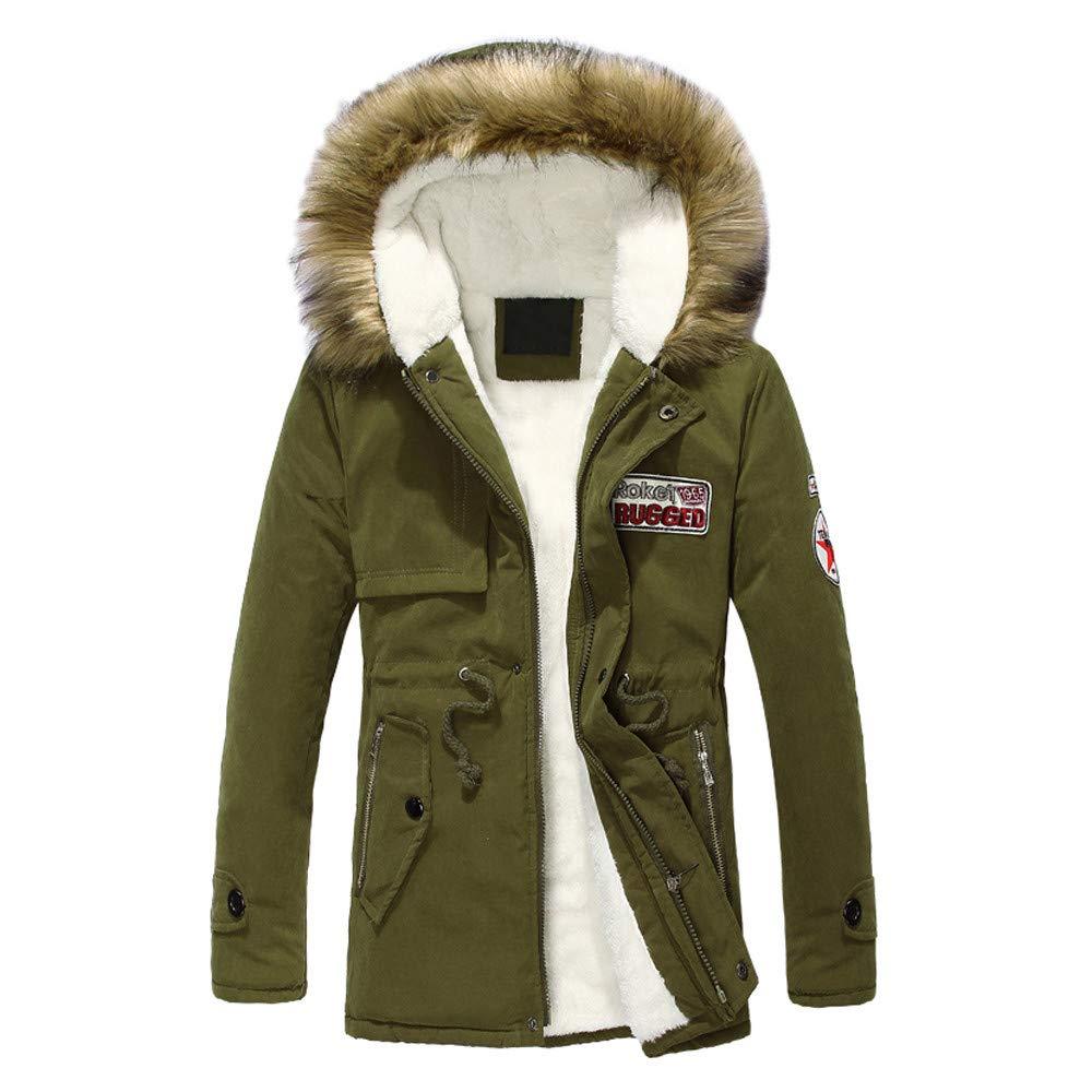 Fantaisiez Manteau Hommes Imprimé Longue à Capuche Veste Hiver Épaississant Col Polaire Manteaux Homme Manche Longue Coat Jacket Grande Taille