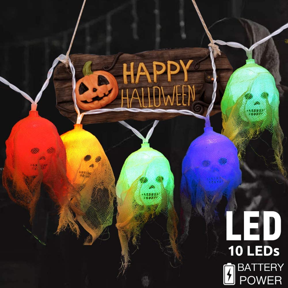 Halloween Decorations Skull String Lights - 10ft 10 LEDs Hanging Light Decor for Party Patio Indoor Outdoor,2 Lighting Modes,Colorful,Battery Operated,Waterproof