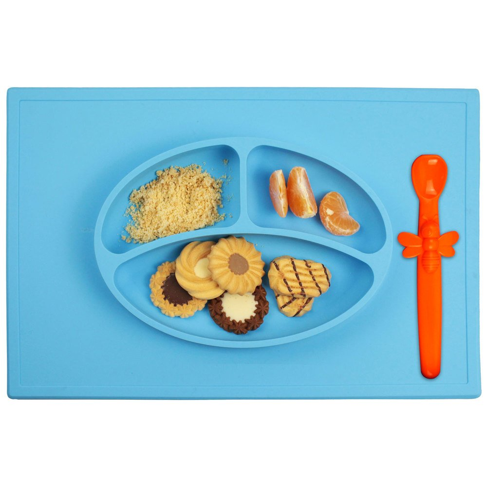 Silicone Baby Placemat + 3 Compartment Food Plate with Silicone Spoon Included - Portable Non Slip Mat - Meal Prep for Feeding Babies Toddlers and Kids - Suction Tables (Blue)