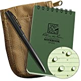 Rite In The Rain Weatherproof 3'' x 5'' Top-Spiral Notebook Kit: Tan CORDURA Fabric Cover, 3'' x 5'' Green Notebook, and an Weatherproof Pen (No. 935-KIT)