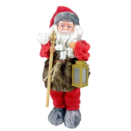animated christmas decoration santa claus singing musical holiday indoor figurine 15 inches tall