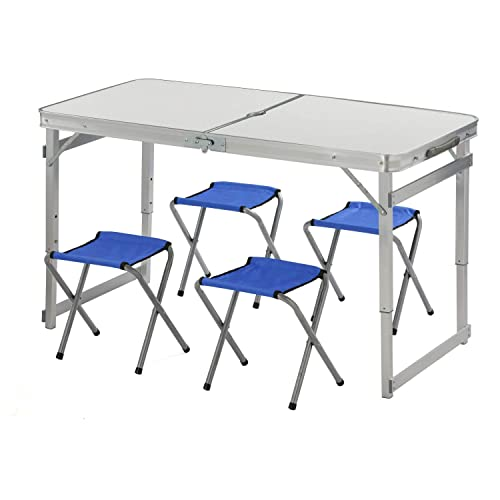 Adjustable Folding Table and 4 Chairs, Tiptiper 4ft Aluminum Camp Table with Handles and Umbrella Hole, Folding Utility Table for Outdoor and Indoor