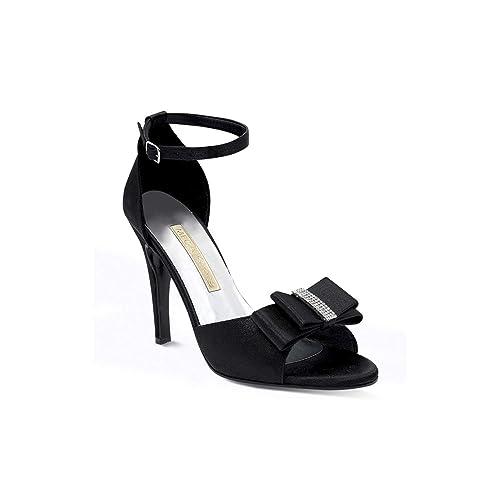 talla 40 1ef60 41cdb Mega Shoes Zapatillas Negras con moño y Detalles Brillantes ...