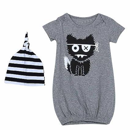 domybest recién nacido bebé pijamas de niños Monster impreso Sleepsack trajes Modal bata sombrero ropa Talla