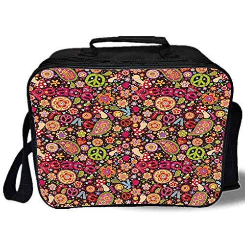 - Insulated Lunch Bag,70s Party Decorations,Groovy Peace and Love Composition Mushrooms Flowers Joyful Vivid Decorative,Multicolor,for Work/School/Picnic, Grey